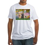 Garden/3 Cairn Terriers Fitted T-Shirt