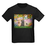 Garden/3 Cairn Terriers Kids Dark T-Shirt