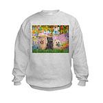 Garden/3 Cairn Terriers Kids Sweatshirt