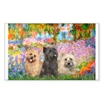 Garden/3 Cairn Terriers Sticker (Rectangle)