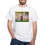 Garden/3 Cairn Terriers White T-Shirt