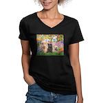 Garden/3 Cairn Terriers Women's V-Neck Dark T-Shir