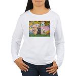 Garden/3 Cairn Terriers Women's Long Sleeve T-Shir