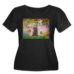 Garden/3 Cairn Terriers Women's Plus Size Scoop Ne