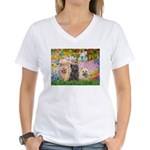 Garden/3 Cairn Terriers Women's V-Neck T-Shirt