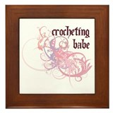 Crocheting Babe Framed Tile