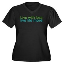 Live with less Women's Plus Size V-Neck Dark T-Shi