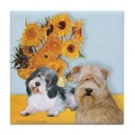 Sunflowers/PBGV8+Wheaten8 Tile Coaster