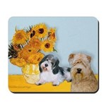 Sunflowers/PBGV8+Wheaten8 Mousepad