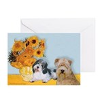 Sunflowers/PBGV8+Wheaten8 Greeting Cards (Pk of 20