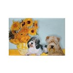 Sunflowers/PBGV8+Wheaten8 Rectangle Magnet (100 pa