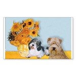 Sunflowers/PBGV8+Wheaten8 Rectangle Sticker 10 pk