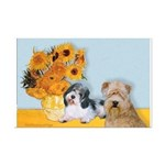 Sunflowers/PBGV8+Wheaten8 Mini Poster Print