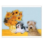 Sunflowers/PBGV8+Wheaten8 Small Poster
