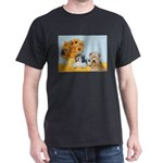 Sunflowers/PBGV8+Wheaten8 Dark T-Shirt