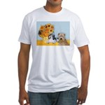 Sunflowers/PBGV8+Wheaten8 Fitted T-Shirt