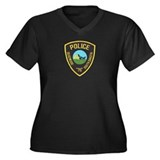 Deadwood Police Women's Plus Size V-Neck Dark T-Sh