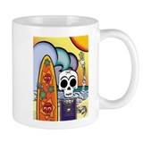 Day of the Dead Skeleton Surfer Small Mug