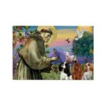 St Francis/Cavalier Trio Rectangle Magnet (10 pack
