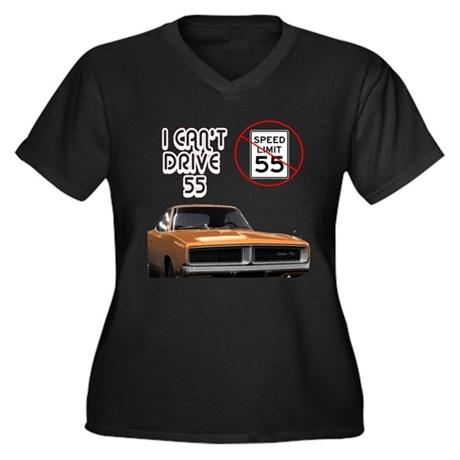 I Can't Drive 55 Women's Plus Size V-Neck Dark T-S
