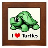 I Love Turtles Framed Tile