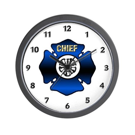 Fire Chief Blue Maltese Wall Clock