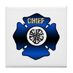 Fire Chief Gold Maltese Cross Tile Coaster