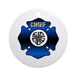 Fire Chief Gold Maltese Cross Ornament (Round)