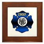 Fire Chief Gold Maltese Cross Framed Tile
