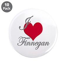 "I love (heart) Finnegan 3.5"" Button (10 pack)"