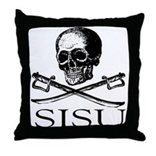 Sisu skull and crossbones Throw Pillow
