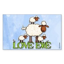 love ewe Rectangle Decal