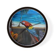 Scarlet macaw and mango Wall Clock