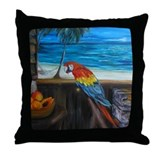 Scarlet macaw and mango Throw Pillow