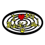Hypno I Love My Black Lab Oval Decal