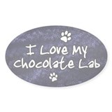 Funky Love Chocolate Lab Oval Decal