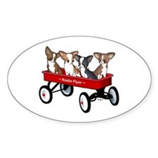 Radio Flyer Chihuahuas Oval Sticker (10 pk)