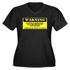 warning - fiance Women's Plus Size V-Neck Dark T-S