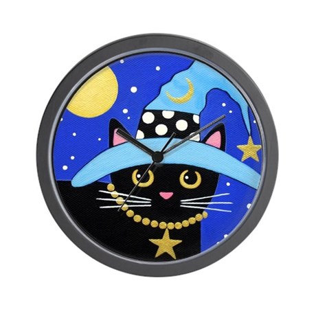 Black Witch CAT Turquoise HAT Wall Clock