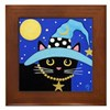 Black Witch CAT Turquoise HAT Framed Tile