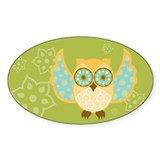 Bohemian Owl - Oval Decal