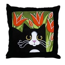 Black & White Tuxedo CAT Red Tulips Throw Pill