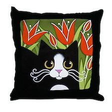 Black & White Tuxedo CAT Red Tulips Throw Pill