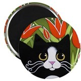 Black & White Tuxedo CAT Red Tulips Magnet