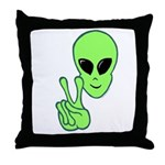 Peace Alien Throw Pillow
