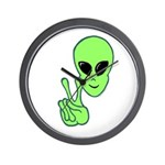 Peace Alien Wall Clock