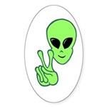 Peace Alien Sticker (Oval)