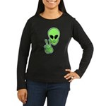 Peace Alien Women's Long Sleeve Dark T-Shirt