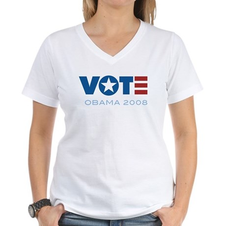 VOTE Obama 2008 Women's V-Neck T-Shirt