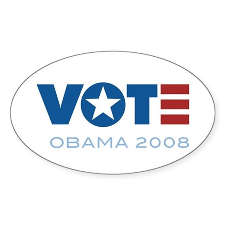VOTE Obama 2008 Oval Sticker
